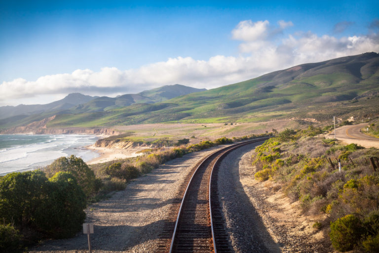 A railroad track stretches into the distance in Goleta, California—along California's central coast.