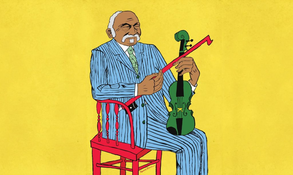 Illustration of man in stripped suit sitting on a red chair with a violin