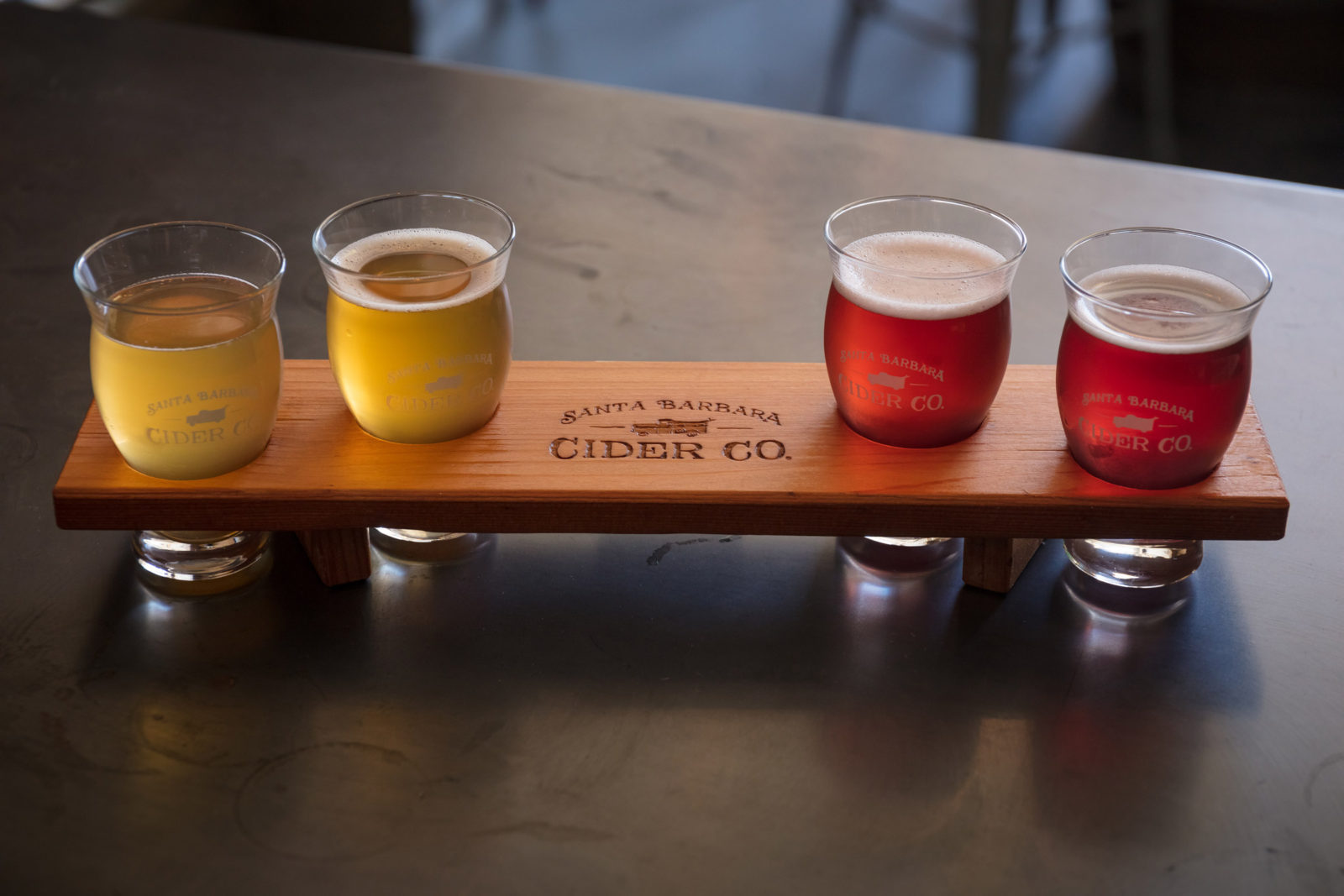 Close up of cider tasters at the Santa Barbara Cider Company's tasting room