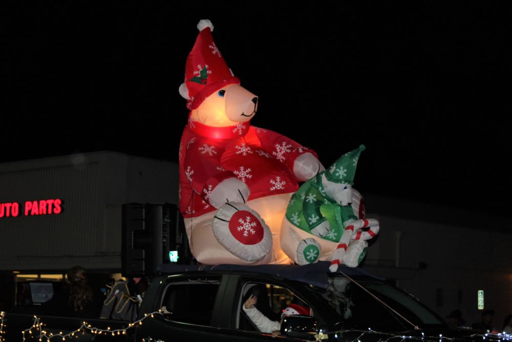 Inflatable polar bears on top of a car during the Old Town Goleta Parade
