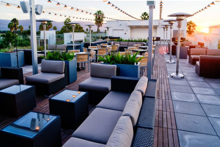 Rooftop seating at the Hilton Garden Inn in Goleta