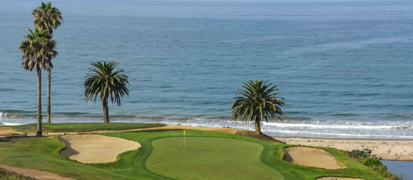Image of a putting green overlooking the ocean in Goleta