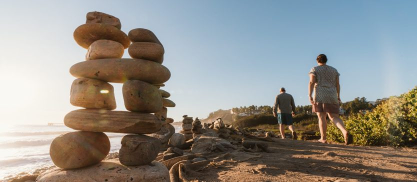 A beautiful cairn stands along California's Central Coast in Goleta, California.