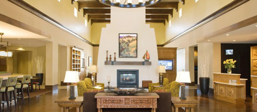There's always a cozy place to stay in Goleta—but book yours before you go to the Goleta Lemon Festival! This is an image of the lobby of a place to stay in Goleta.