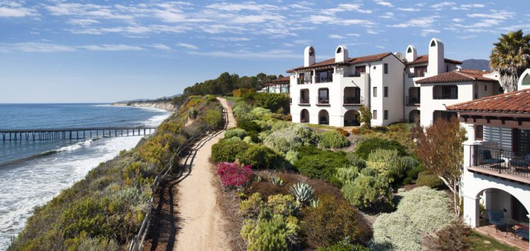 Pictured: The Ritz-Carlton Bacara's sprawling resort property standing beautifully beside Goleta's Central Coast.