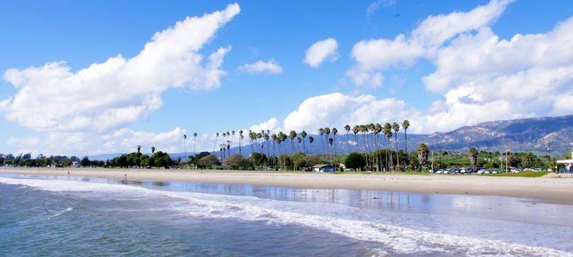 The beautiful beach in Goleta, California is easily accessible from most lodging properties. Pictured: Goleta Beach Park.